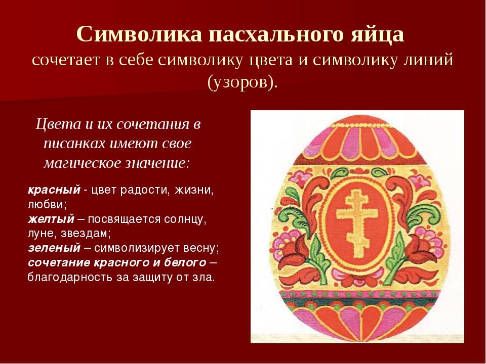 Символика пасхального яйца сочетает в себе символику цвета и символику линий...