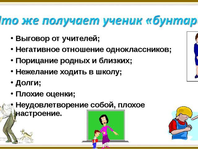 Выговор от учителей; Негативное отношение одноклассников; Порицание родных и...