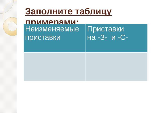 Заполните таблицу примерами: Неизменяемые приставки Приставки на -З-и -С-
