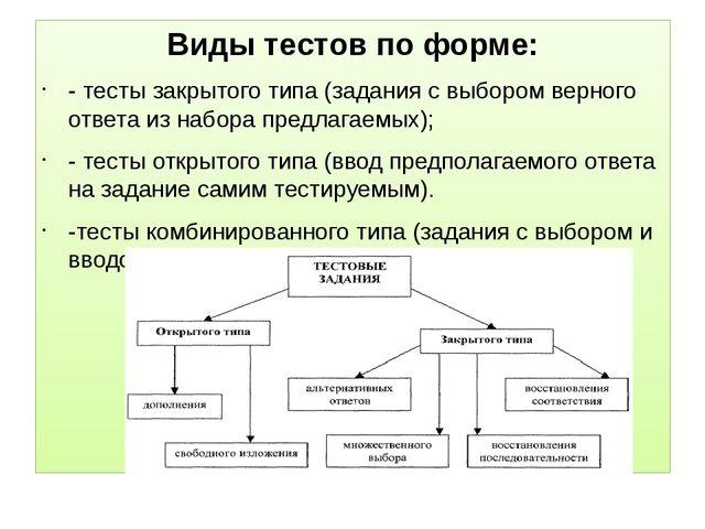 Виды тестов по форме: - тесты закрытого типа (задания с выбором верного отве...
