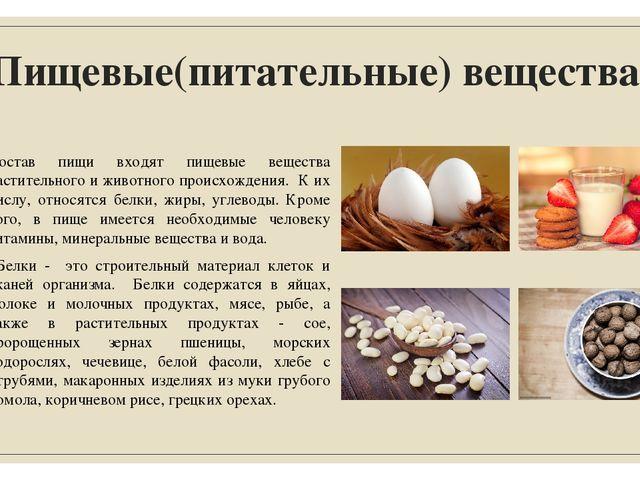 Пищевые(питательные) вещества. Состав пищи входят пищевые вещества растительн...