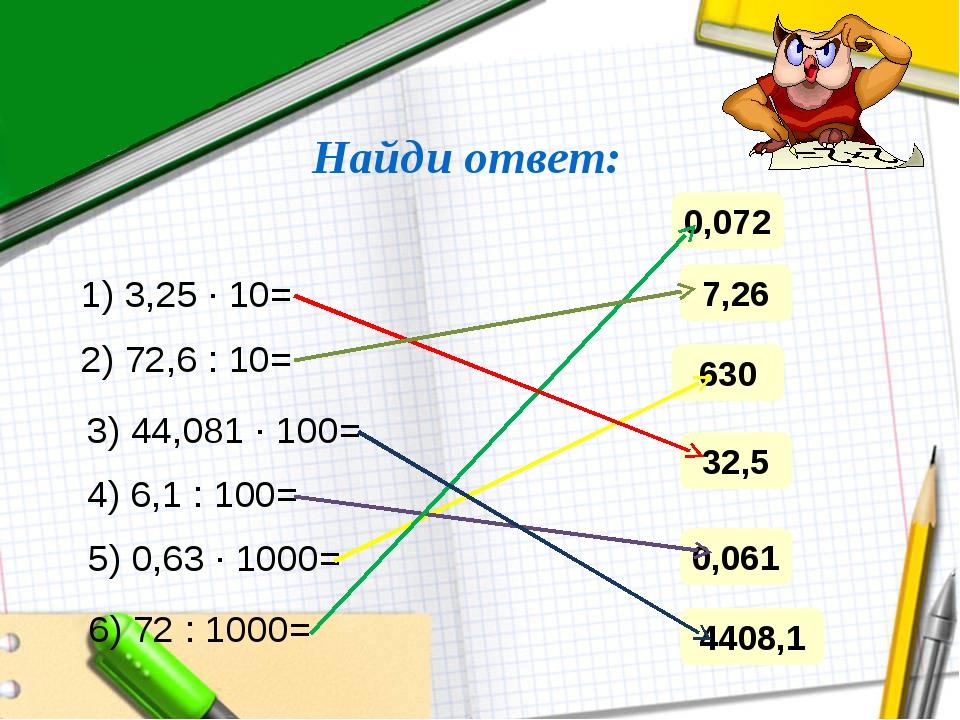 Найди ответ: 1) 3,25 ∙ 10= 2) 72,6 : 10= 3) 44,081 ∙ 100= 4) 6,1 : 100= 5) 0,...
