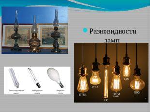 Разновидности ламп