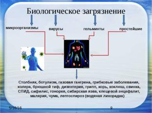 Биологическое загрязнение микроорганизмы вирусы гельминты простейшие Столбняк