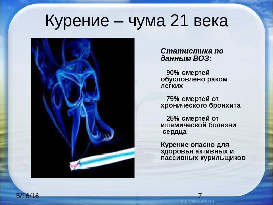 Курение – чума 21 века Статистика по данным ВОЗ: 90% смертей обусловлено рако...