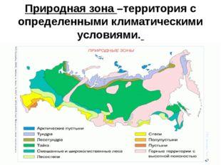 Природная зона –территория с определенными климатическими условиями.