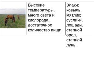Злаки: ковыль, мятлик; суслики, лошади, степной орел, степной лунь. Высокие т