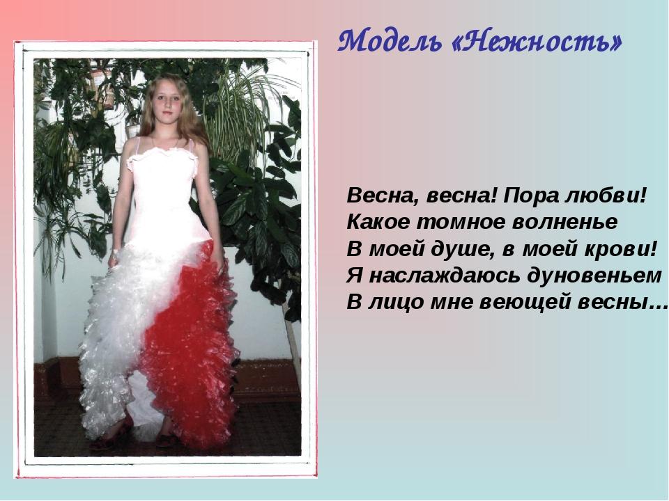 Модель «Нежность» Весна, весна! Пора любви! Какое томное волненье В моей душе...