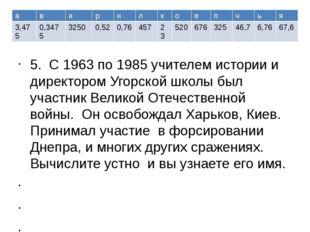 5. С 1963 по 1985 учителем истории и директором Угорской школы был участник