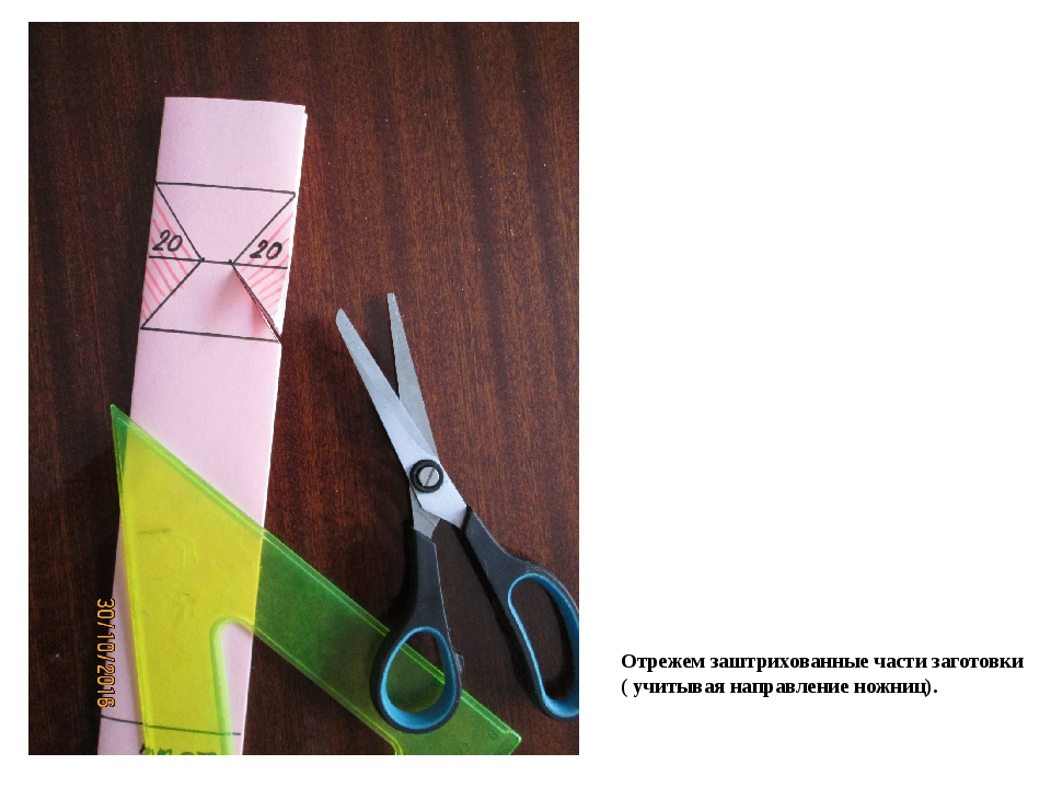 Отрежем заштрихованные части заготовки ( учитывая направление ножниц).