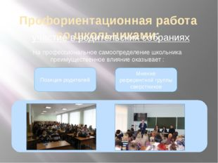 Профориентационная работа со школьниками: участие в родительских собраниях Н