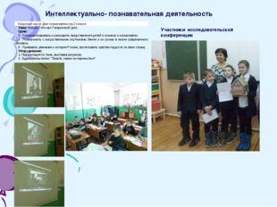 Интеллектуально- познавательная деятельность Участники исследовательской конф