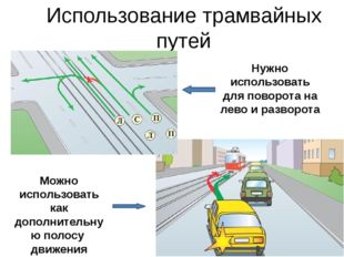 Использование трамвайных путей Нужно использовать для поворота на лево и разв