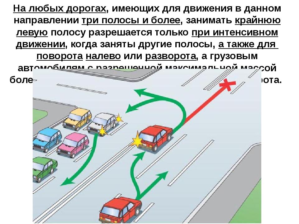 На любых дорогах, имеющих для движения в данном направлении три полосы и боле...