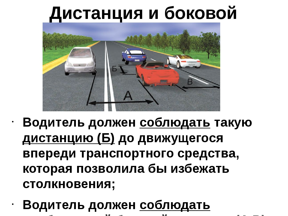 Дистанция и боковой интервал Водитель должен соблюдать такую дистанцию (Б) до...