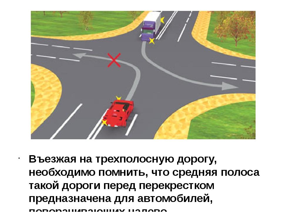 Въезжая на трехполосную дорогу, необходимо помнить, что средняя полоса такой...