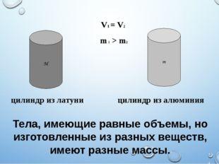 Тела, имеющие равные объемы, но изготовленные из разных веществ, имеют разные