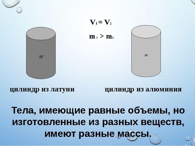 Тела, имеющие равные объемы, но изготовленные из разных веществ, имеют разные...