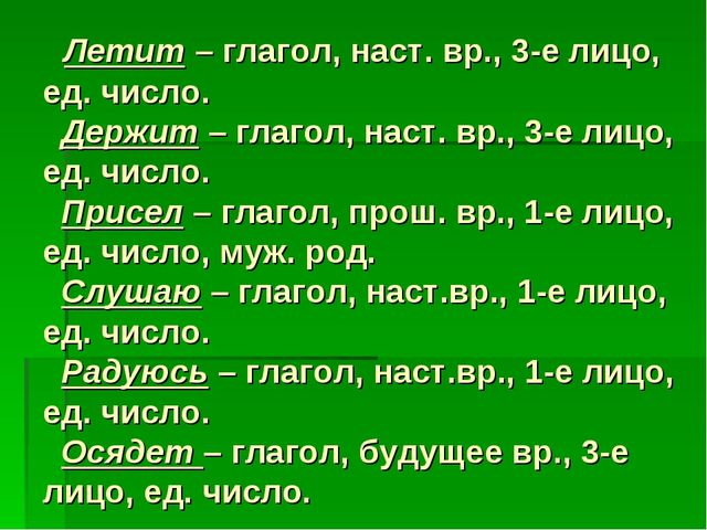 Летит – глагол, наст. вр., 3-е лицо, ед. число. Держит – глагол, наст. вр.,...