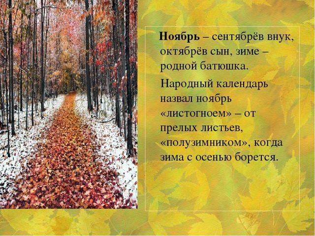 Ноябрь – сентябрёв внук, октябрёв сын, зиме – родной батюшка. Народный кален...