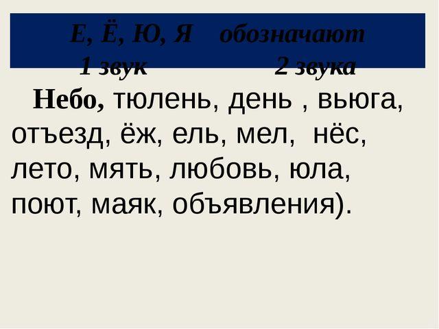 Е, Ё, Ю, Я обозначают 1 звук 2 звука Небо, тюлень, день , вьюга, отъезд, ёж,...