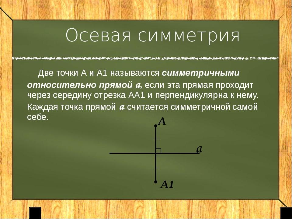 Фигура называется симметричной относительно прямой а, если для каждой точки...