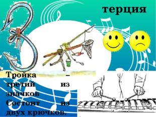 Тройка – третий из значков Состоит из двух крючков. терция