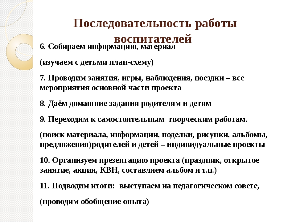 Последовательность работы воспитателей 6. Собираем информацию, материал (изу...