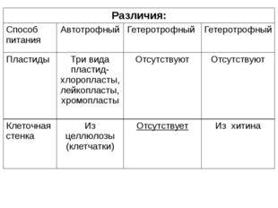 Различия: Способ питания Автотрофный Гетеротрофный Гетеротрофный Пластиды Три