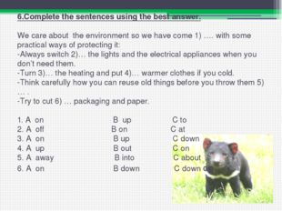 6.Complete the sentences using the best answer.   We care about the environme