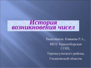 История возникновения чисел Выполнила: Камаева Р.А., МОУ Красноборская СОШ, Т