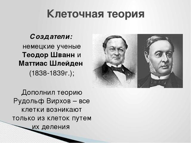 Создатели: немецкие ученые Теодор Шванн и Маттиас Шлейден (1838-1839г.); Допо...