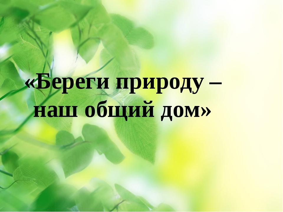 «Береги природу – наш общий дом»