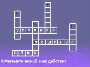 3.Математический знак действия у с л о в и е р е ш е н и е п л ю с 4 1 5 2 3