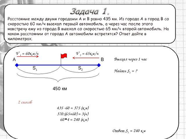 2 способ А 450 км V 1 = 60км/ч Выехал через 1 час В S1 S2 V 2 = 65км/ч Найти...