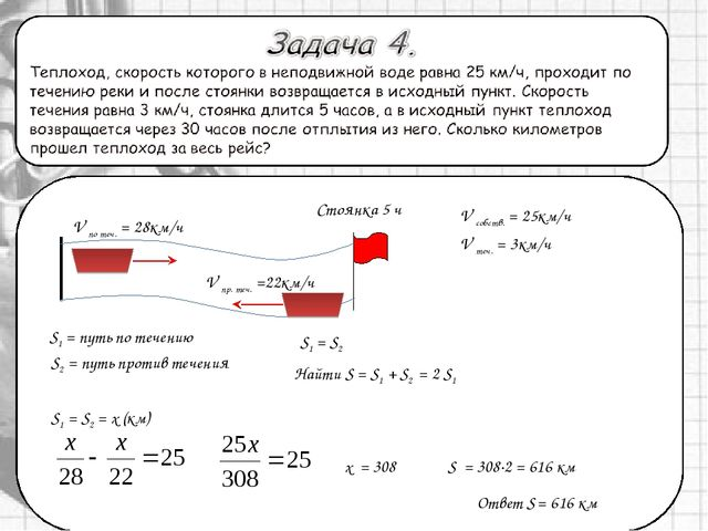 Ответ S = 616 км x = 308 S1 = S2 = x (км) S = 308·2 = 616 км