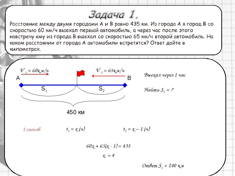1 способ Выехал через 1 час t1 = x (ч) Найти S1 = ? t2 = x – 1 (ч) Ответ S1...