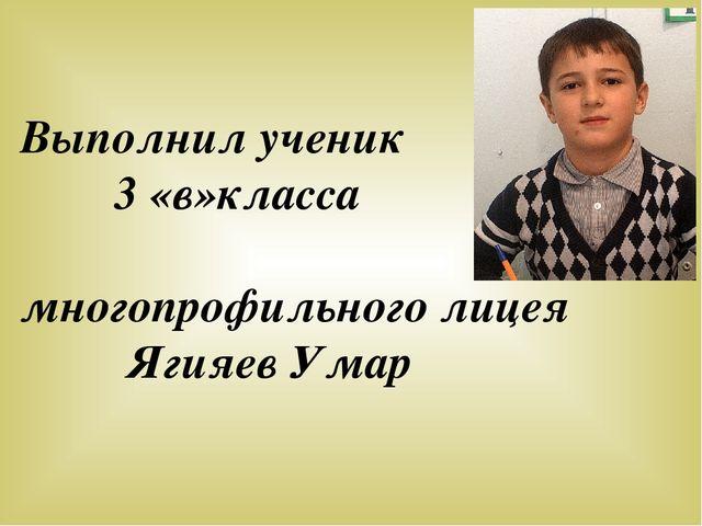 Выполнил ученик 3 «в»класса многопрофильного лицея Ягияев Умар