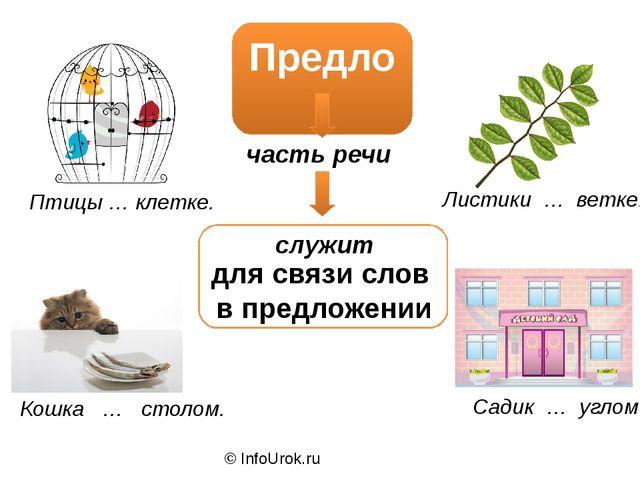 © InfoUrok.ru Предлог часть речи служит для связи слов в предложении Птицы …...