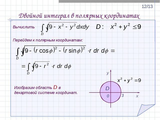 Вычислить Перейдем к полярным координатам: Двойной интеграл в полярных коорди...