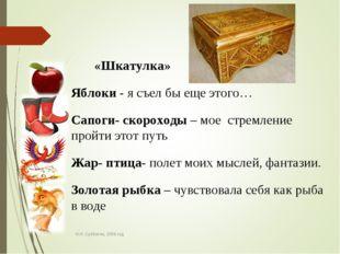 Н.И. Субботин, 2009 год «Шкатулка» Яблоки - я съел бы еще этого… Сапоги- скор