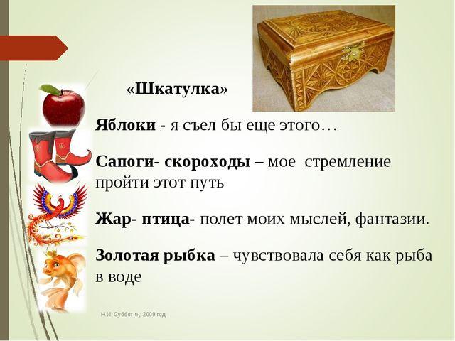 Н.И. Субботин, 2009 год «Шкатулка» Яблоки - я съел бы еще этого… Сапоги- скор...