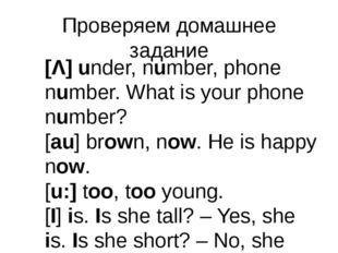 Проверяем домашнее задание [Λ] under, number, phone number. What is your phon