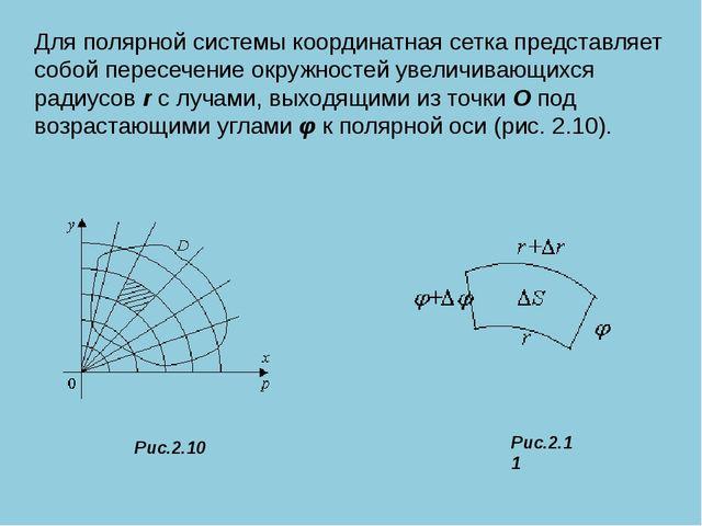 Для полярной системы координатная сетка представляет собой пересечение окруж...