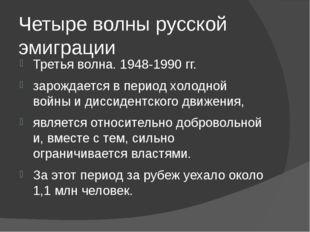 Четыре волны русской эмиграции Третья волна. 1948-1990 гг. зарождается в пери
