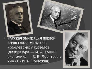 Русская эмиграция первой волны дала миру трех нобелевских лауреатов (литерату
