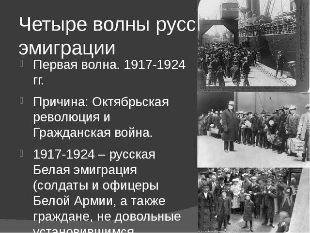 Четыре волны русской эмиграции Первая волна. 1917-1924 гг. Причина: Октябрьск...