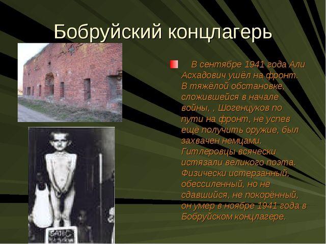 Бобруйский концлагерь В сентябре 1941 года Али Асхадович ушёл на фронт. В тяж...