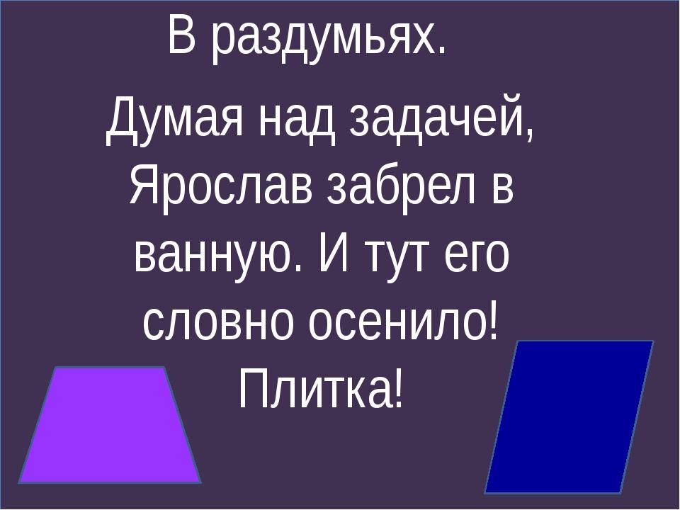 В раздумьях. Думая над задачей, Ярослав забрел в ванную. И тут его словно осе...