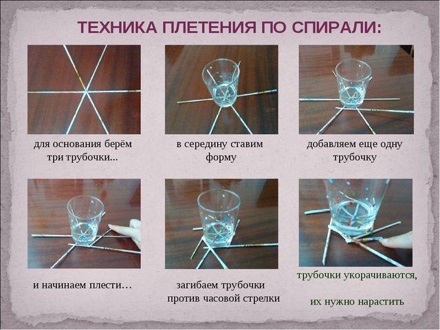 для основания берём три трубочки... в середину ставим форму ТЕХНИКА ПЛЕТЕНИЯ...